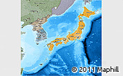 Political Shades 3D Map of Japan, semi-desaturated, land only