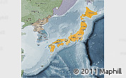 Political Shades 3D Map of Japan, semi-desaturated