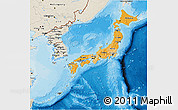 Political Shades 3D Map of Japan, shaded relief outside, bathymetry sea
