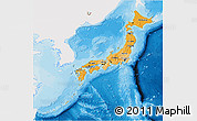 Political Shades 3D Map of Japan, single color outside