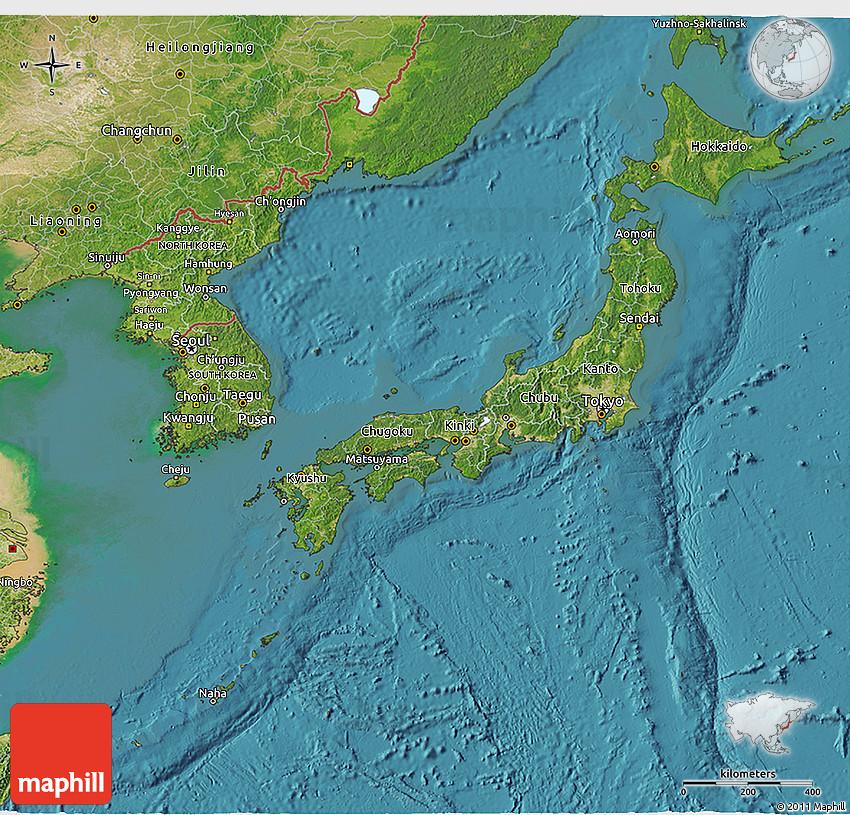 Satellite D Map Of Japan - Japan map satellite