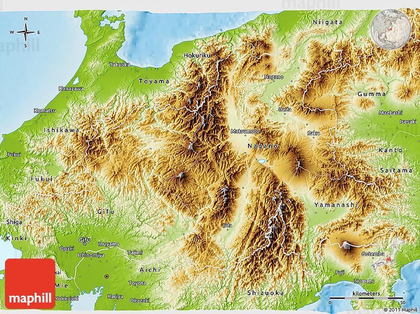 Physical 3d Map Of Chubu