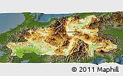 Physical Panoramic Map of Chubu, darken