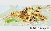 Physical Panoramic Map of Chubu, lighten