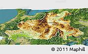 Physical Panoramic Map of Chubu, satellite outside