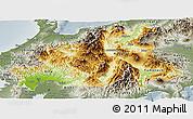 Physical Panoramic Map of Chubu, semi-desaturated