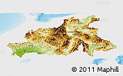 Physical Panoramic Map of Chubu, single color outside