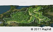 Satellite Panoramic Map of Chubu, darken