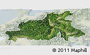 Satellite Panoramic Map of Chubu, lighten