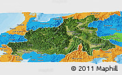 Satellite Panoramic Map of Chubu, political outside