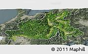 Satellite Panoramic Map of Chubu, semi-desaturated
