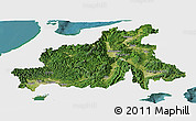 Satellite Panoramic Map of Chubu, single color outside