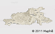 Shaded Relief Panoramic Map of Chubu, cropped outside