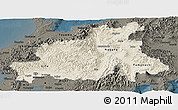 Shaded Relief Panoramic Map of Chubu, darken