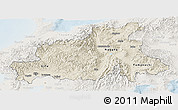 Shaded Relief Panoramic Map of Chubu, lighten