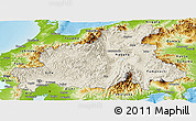 Shaded Relief Panoramic Map of Chubu, physical outside