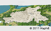 Shaded Relief Panoramic Map of Chubu, satellite outside