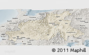Shaded Relief Panoramic Map of Chubu, semi-desaturated