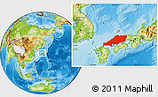 Physical Location Map of Chugoku