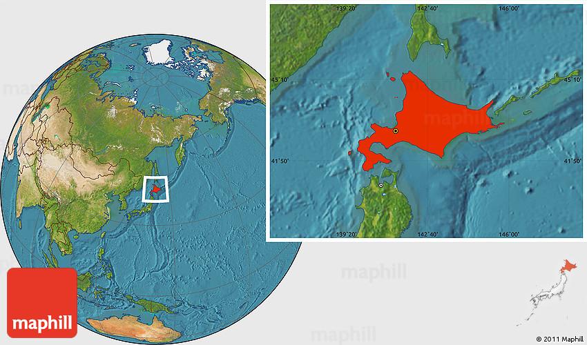 Hokkaido World Map.Satellite Location Map Of Hokkaido