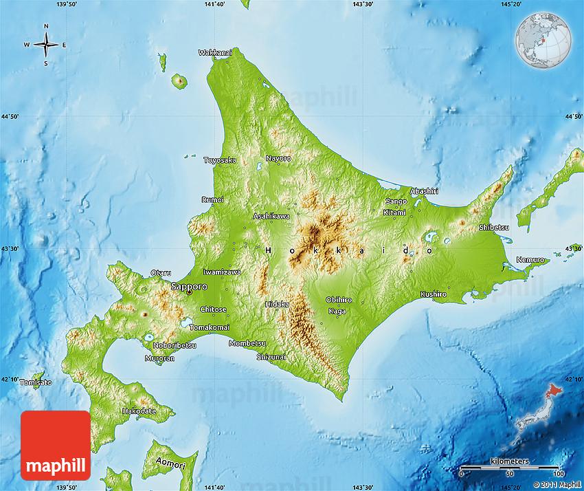 physical map of hokkaido