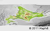 Physical Panoramic Map of Hokkaido, desaturated