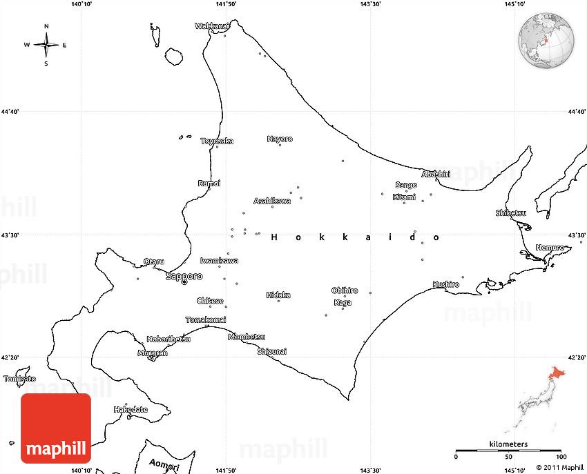 Blank Simple Map Of Hokkaido - Japan map blank outline