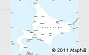 Gray Simple Map of Hokkaido