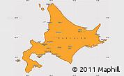 Political Simple Map of Hokkaido, cropped outside