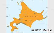 Political Simple Map of Hokkaido, single color outside