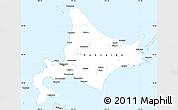 Silver Style Simple Map of Hokkaido