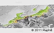 Physical Panoramic Map of Hokuriku, desaturated