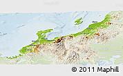 Physical Panoramic Map of Hokuriku, lighten
