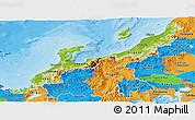 Physical Panoramic Map of Hokuriku, political outside