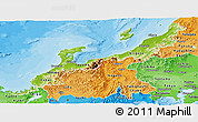 Physical Panoramic Map of Hokuriku, political shades outside