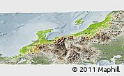 Physical Panoramic Map of Hokuriku, semi-desaturated
