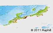 Physical Panoramic Map of Hokuriku, single color outside