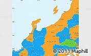 Political Simple Map of Hokuriku