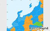 Political Shades Simple Map of Hokuriku, political outside
