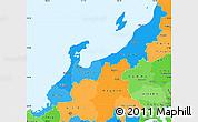Political Shades Simple Map of Hokuriku