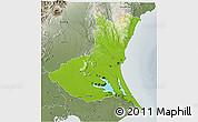 Physical 3D Map of Ibaraki, semi-desaturated