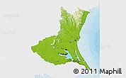 Physical 3D Map of Ibaraki, single color outside