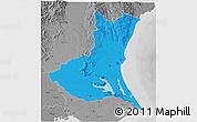 Political 3D Map of Ibaraki, desaturated