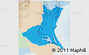 Political 3D Map of Ibaraki, lighten