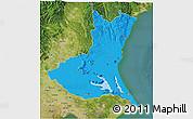 Political 3D Map of Ibaraki, satellite outside