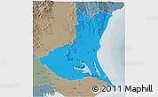 Political 3D Map of Ibaraki, semi-desaturated