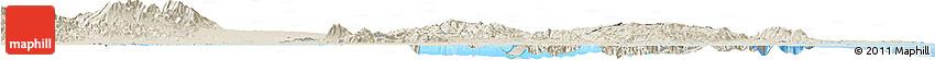 Shaded Relief Horizon Map of Ibaraki