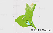 Physical Map of Ibaraki, cropped outside