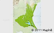 Physical Map of Ibaraki, lighten