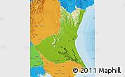 Physical Map of Ibaraki, political outside